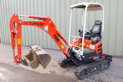 Kubota U17-3 mini excavator with zero tail swing